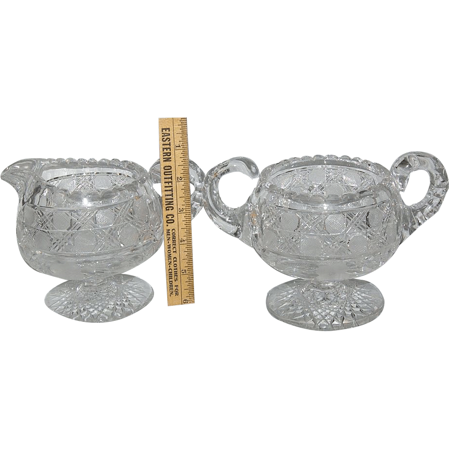 Wonderful Pair of Brilliant / Flower Period Pedestal Creamer & Sugar