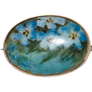 Sweet Hand Painted Blue Forget Me Nots Flowers Porcelain Pin / Brooch