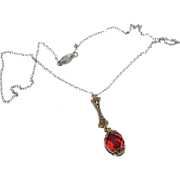 Dainty Necklace w/ dangling Red Bead Drop & Sterling Chain