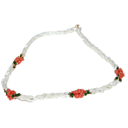 Mother of Pearl Beads & Coral Stones Necklace