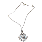 Sterling Silver Heart Shaped Drop w/ Mother of Pearl & marcasites Necklace