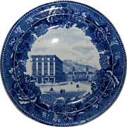 "Blue & White Souvenir Plate ""Antlers Hotel Colorado Springs Colorado"""