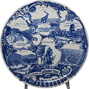 "Blue & White Souvenir Plate of the ""Mohawk Trail"""