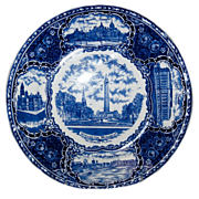 "Blue & White Souvenir Historical Plate of ""Baltimore MD."""