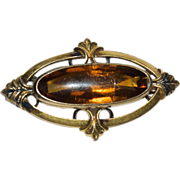Victorian 1890's GF Oval Long Pin with Glass colored like Topaz / Amber