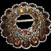 1930's -1940's Circular Shaped Pin w/ Topaz Looking Glass & Aurora Borealis Rainbow Rhinestones