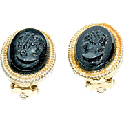 "1920's - 1930's Black Jet Glass ""Cameo"" with  GF Earrings"
