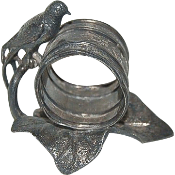 1890's Victorian Figural SP Napkin Ring w/ Bird & Leaf