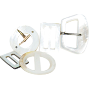 (6) Mother of Pearl Belt Buckles in various shapes and sizes