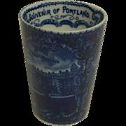 "1890's Very Scarce Blue & White Historical Souvenir Tumbler of ""Portland Ore."""