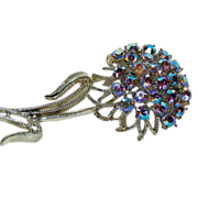 Flashy Aurora Borealis Rainbow Rhinestones flower Pin / Brooch