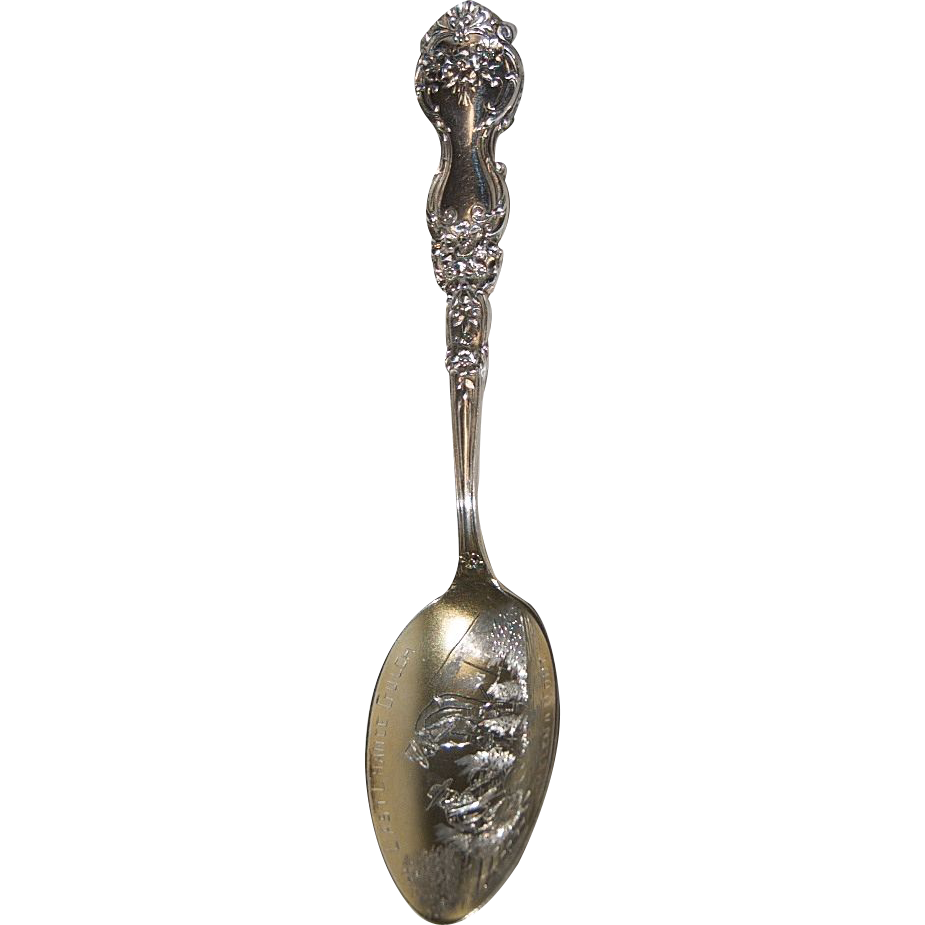 "Sterling Silver Souvenir Spoon of ""Gold Mining Last Chance Gulch"" in Helena, Montana"
