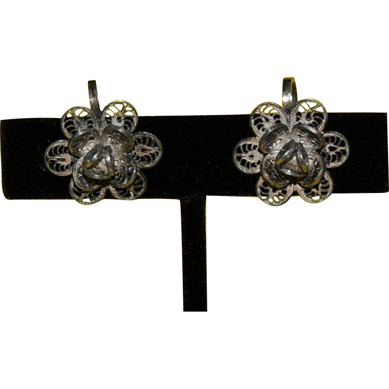 Older style Wire-Wound Silver Flower Screw on Earrings