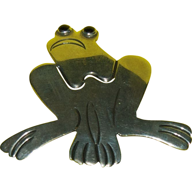 1950's Sterling Silver Adorable Frog Pin / Brooch