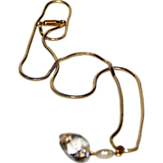 1930's Signed Krementz GF Chain & Heart Shaped Crystal Drop with a Faux Pearl