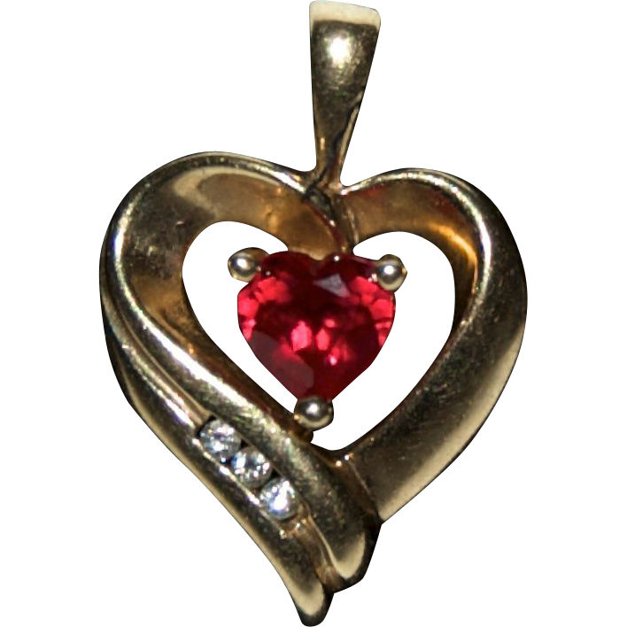 10K Gold w/Stones Heart Drop