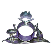 Very Unusual 1890's - 1910's Figural Silver Plated Australian Napkin Ring with Emu & Kangaroo