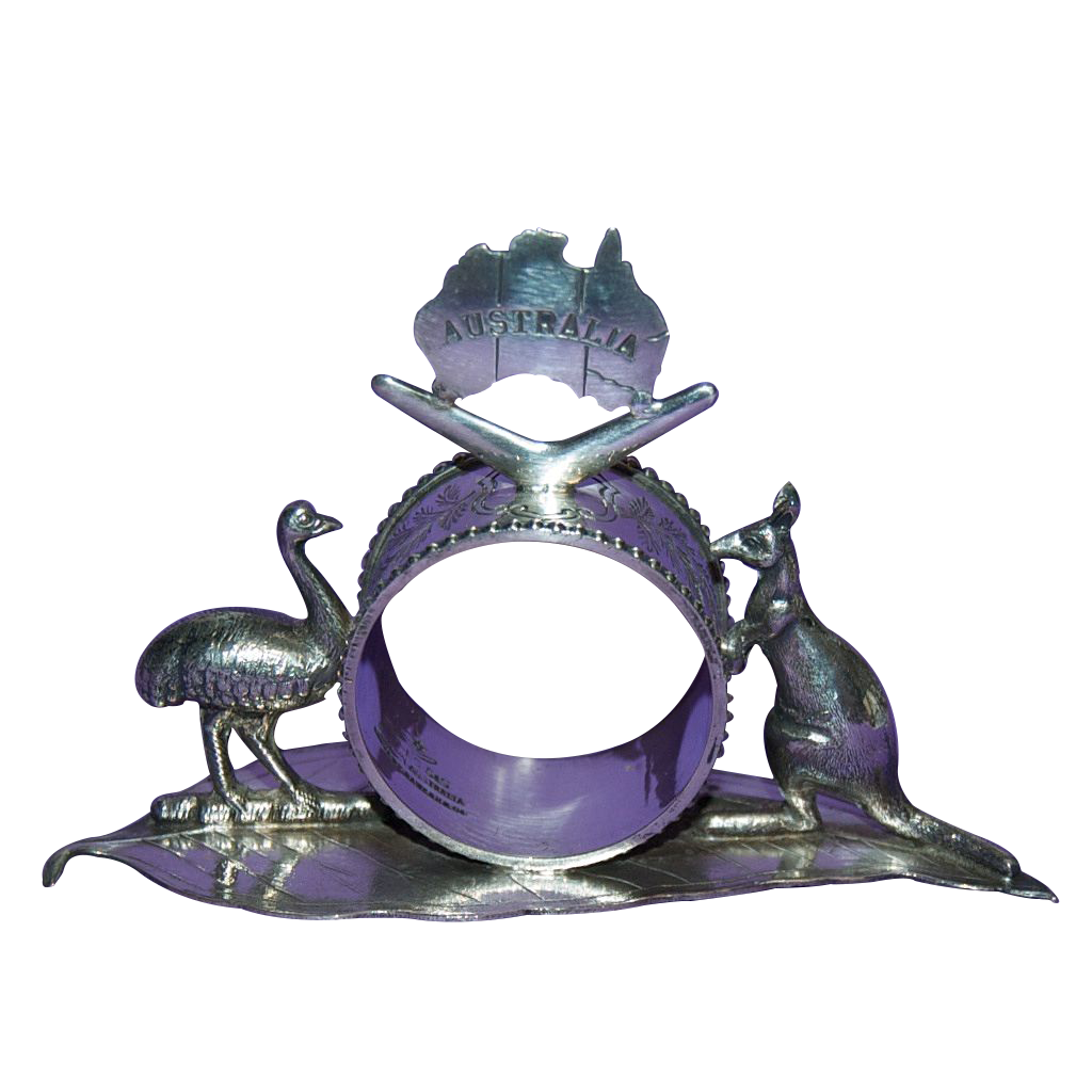 Very Unusual 1890's - 1910's Figural Silver Plated Australian Napkin Ring with Emu & Kangaroo