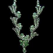 Very Classy & Unusual Green Rhinestone Necklace