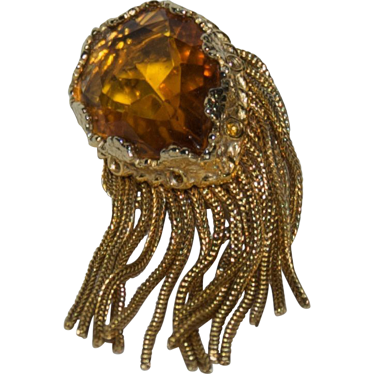 1930's - 1940's Beautiful Huge Tear Drop Shaped faceted Topaz Colored Stone / Glass Dress Pin / Brooch