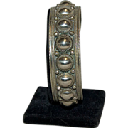 Very Heavy Sterling Siam ( Thailand ) Cuff Bracelet w/ Beading Design
