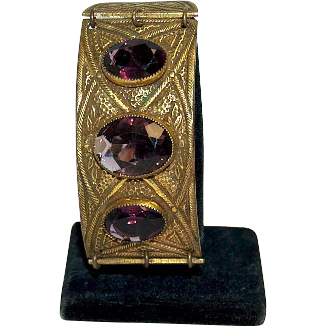 1900's-1920's Exotic Brass & Amethyst Glass Bracelet