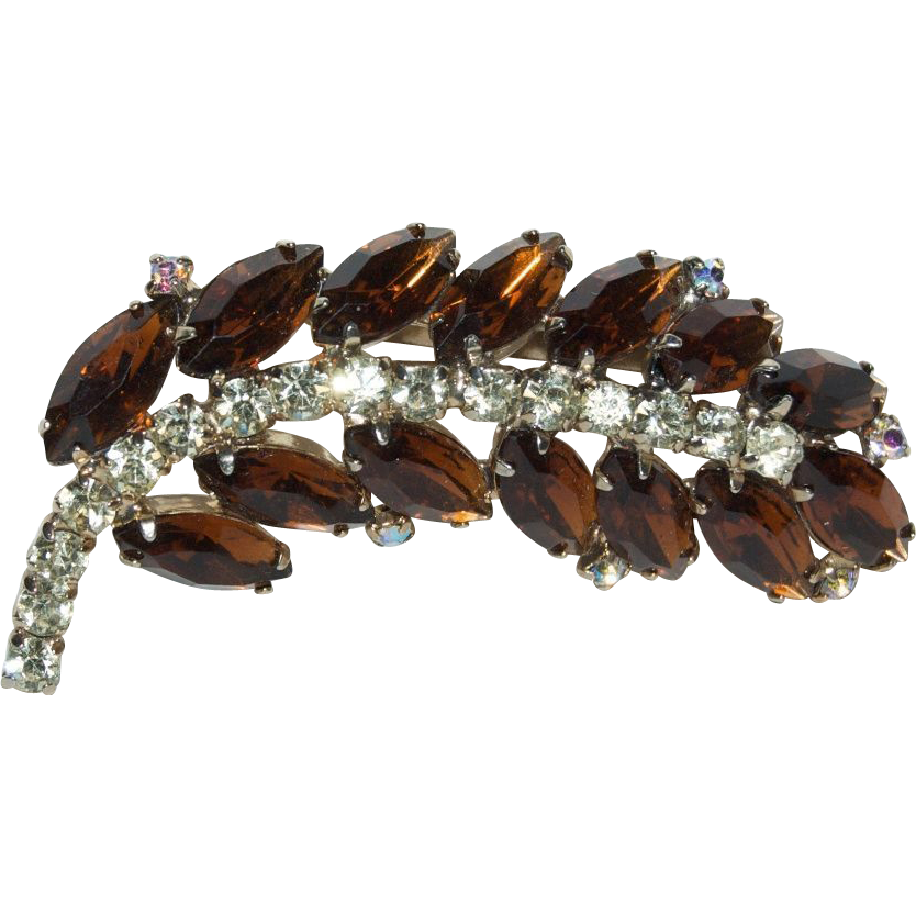 Amber & Clear Rhinestones Feather Brooch