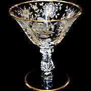 Cambridge Glass Wildflower Sherbert Stem w/ Gold Trim