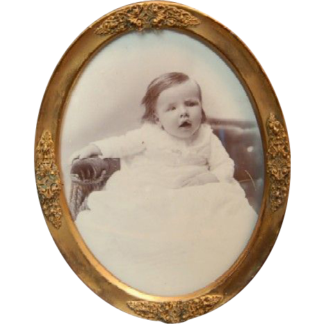 1900's Fancy Brass Photograph Oval Frame