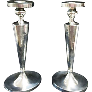 "1920's Sterling Silver 11 3/4""  Tall Elegant & Wonderful Candlesticks "" NOT WEIGHTED """