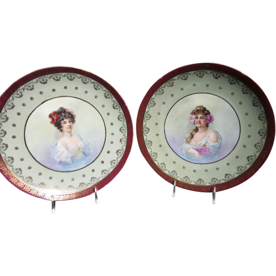 "Pair of 1890's -1900's 11 3/4"" Victorian Beautiful Lady Portrait Plaques"