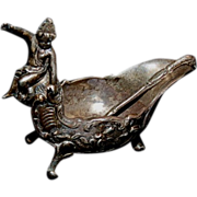 (4) 1890's -1900's Sterling Figural Boat Salt Cellars with Cherub sitting on Salt