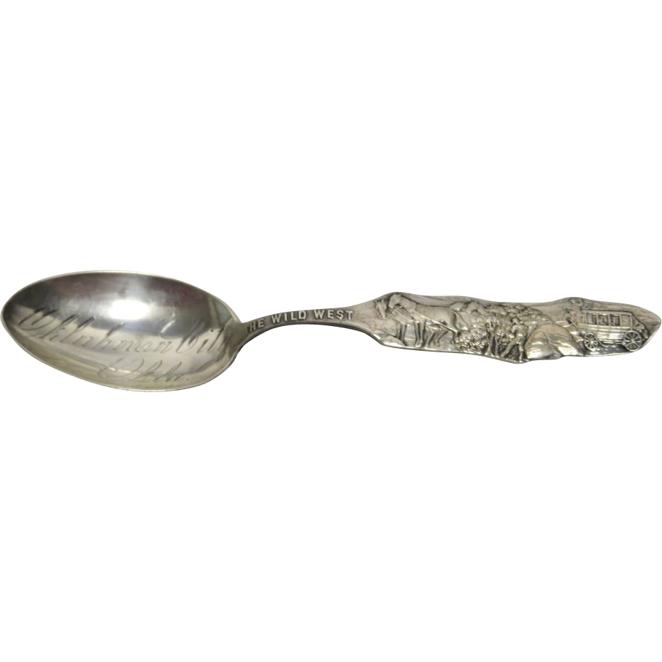"Sterling Silver "" The Wild West "" Hold Up Souvenir Spoon"