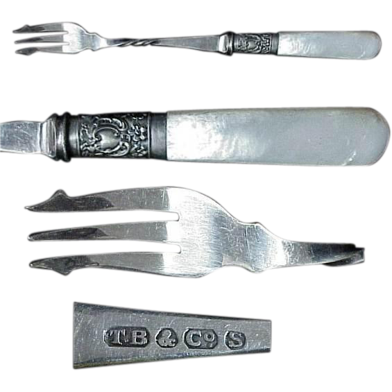 1890's Mother Of Pearl Handle Silverplated Pickle Fork