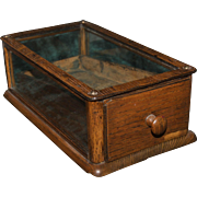 1890's Small Oak Kings Cufflinks Display Case