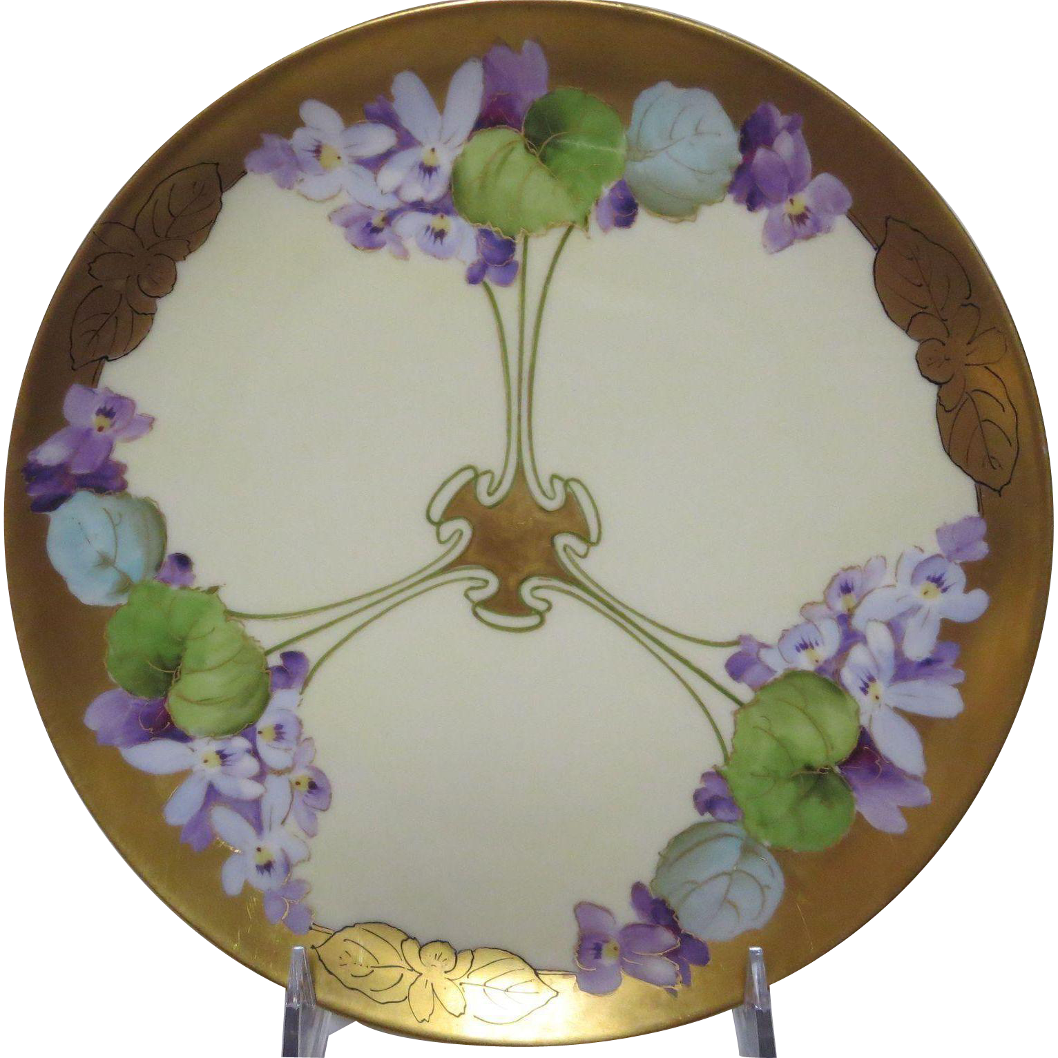 "circa 1912 - 1918 Period 8 1/2"" Hand Plated Pickard Plate in Violet Supreme pattern"