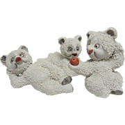 1950' - 1960's (3) Three Adorably Cute Pebbly Japanese Snow Polar Bears