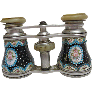 C.1850 -  1870's Pair of French Enameled & Jeweled Beads Sevres Opera Glasses