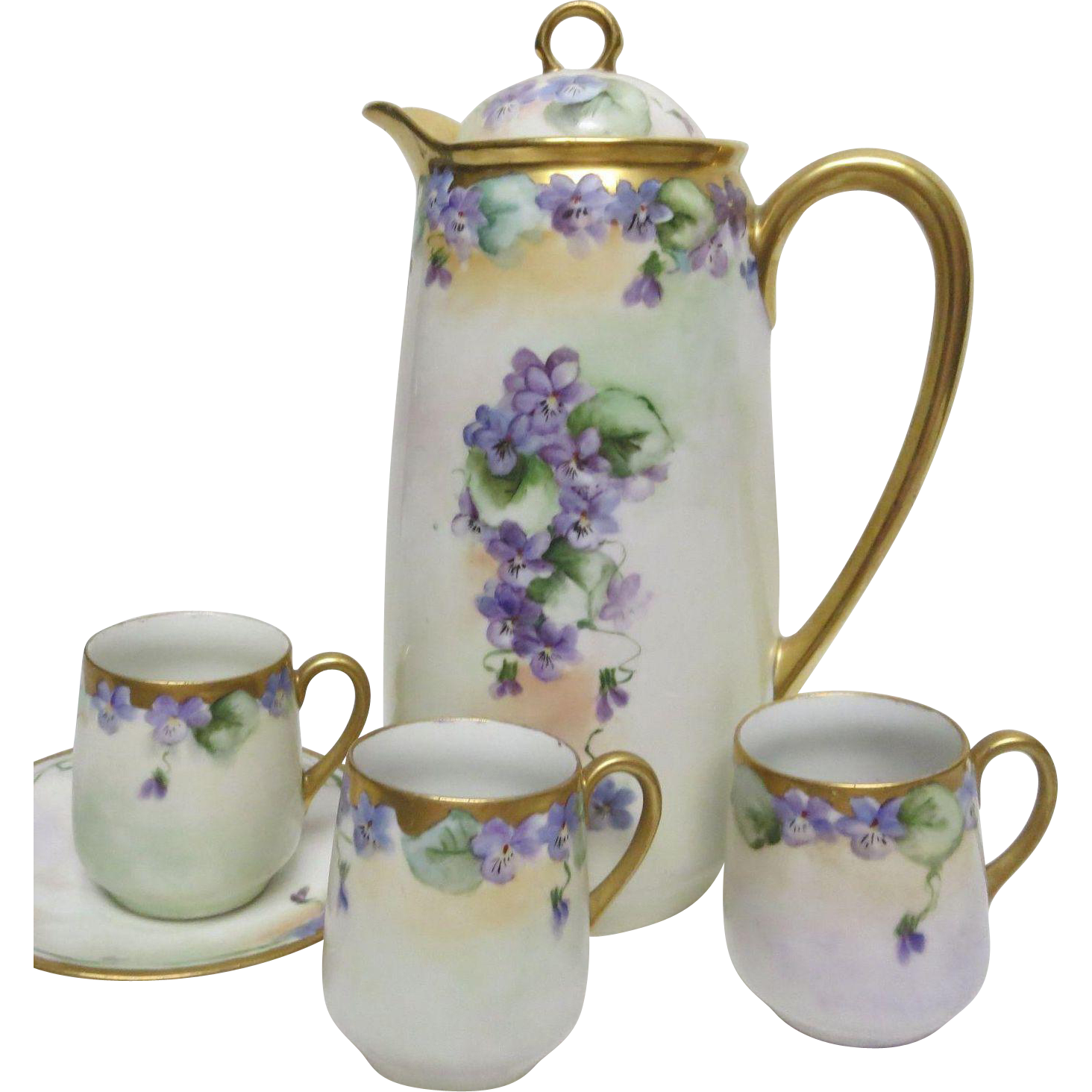 1900's Germany Beautiful Hand Painted Violets Chocolate Pot Set / 6 pcs