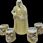 """1900's Macabre Figural Skeleton Liquor Bottle & 4 Figural Skeleton Heads marked """" Poison """""""