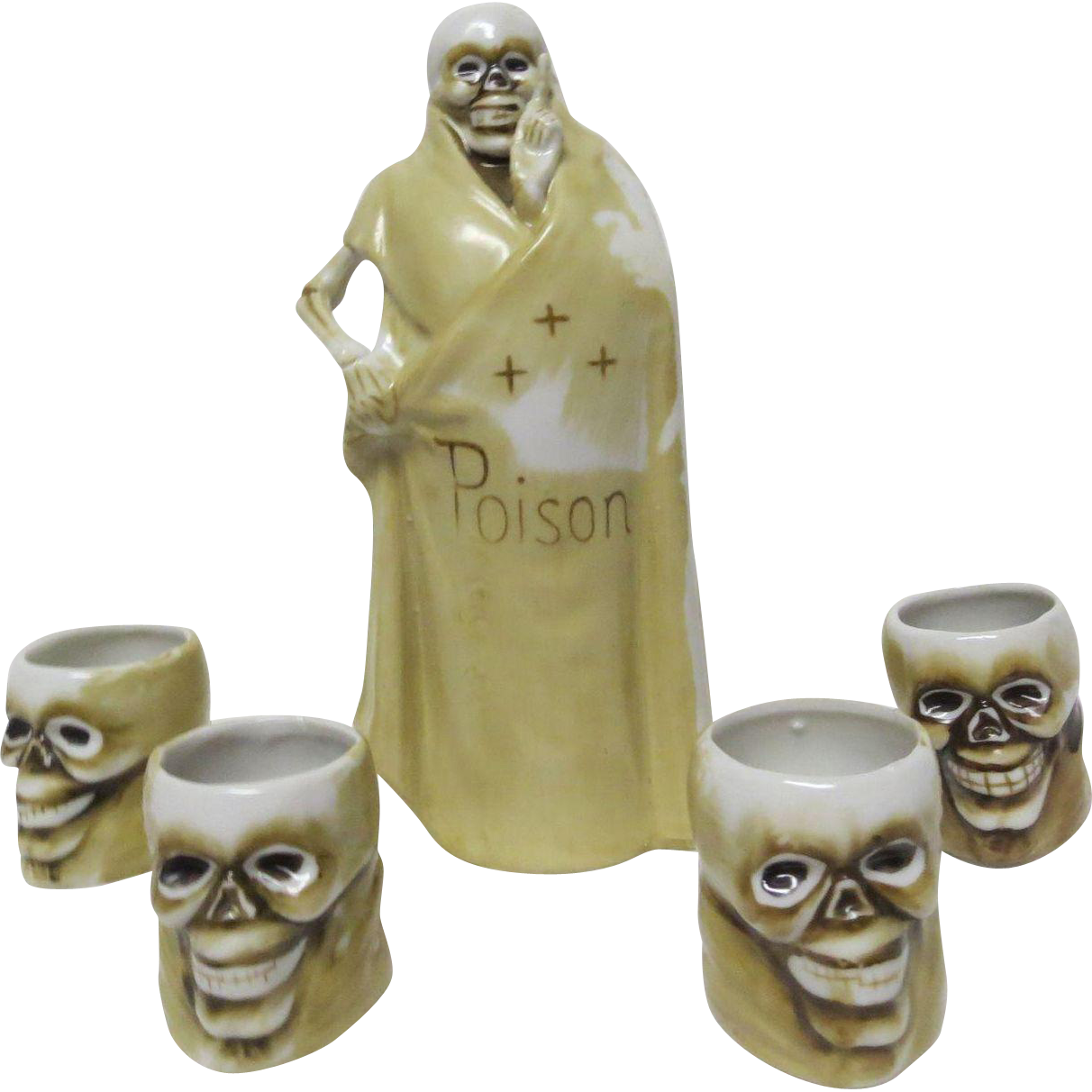 "1900's Macabre Figural Skeleton Liquor Bottle & 4 Figural Skeleton Heads marked "" Poison """