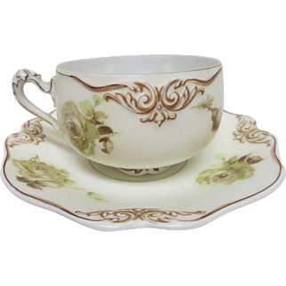 Old Ivory No 82 Silesia Germany Cup and Saucer with Roses