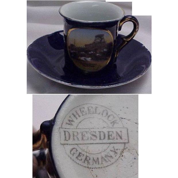 Wheelock Souvenir of Summit House Pikes Peak, Colorado Demitasse Cobalt Blue Cup & Saucer