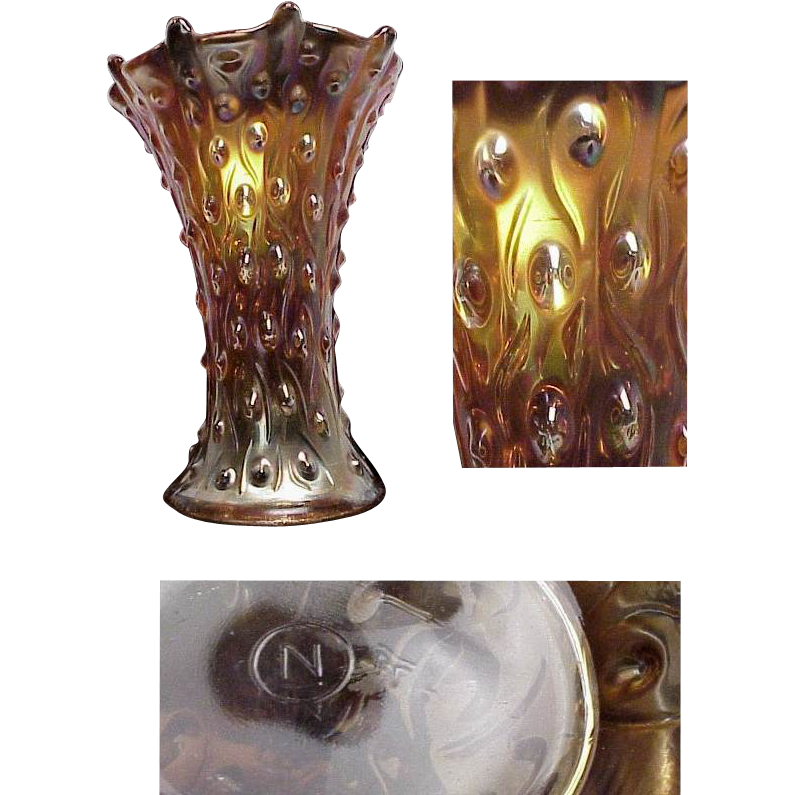 Signed Northwood Marigold Carnival Glass Vase