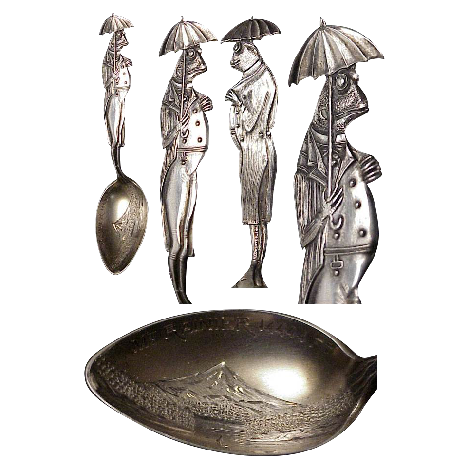 Sterling Figural Frog Spoon Souvenir of Mount Rainier