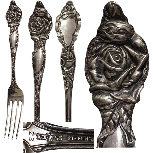 Sterling Art Nouveau Fork & Spoon with Roses