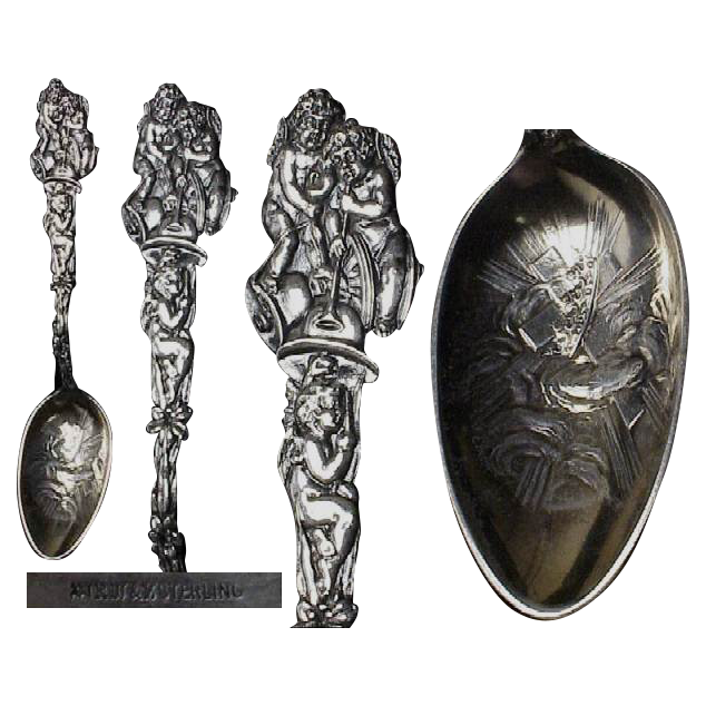 Exceptional R Wallace & Son Figural Sterling Easter Spoon