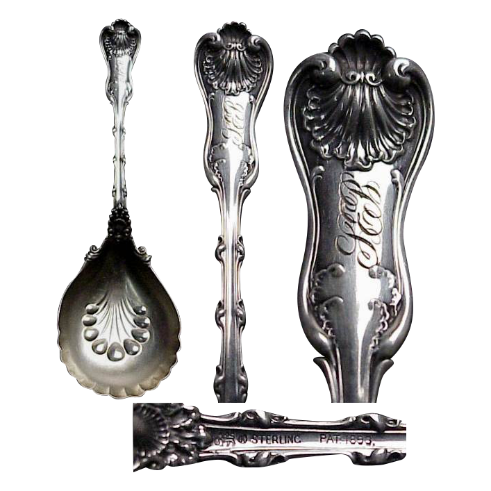1893 Whiting Imperial Queen Sterling Silver Medium Berry Spoon