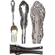 Old English Towle Sterling Floral Meat Serving Fork