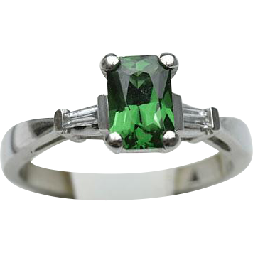 Platinum Diamond and Tsavorite Ring